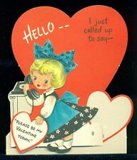 Vintage HALLMARK Valentine Greeting Card JUST CALLED UP TO SAY Girl on Phone