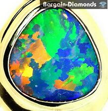 harlequin black opal diamonds 14K gold pendant Australian best rare birthstone