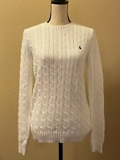 Women's Ralph Lauren White Crew Neck Cable Knit Sweater Navy Pony Size Large