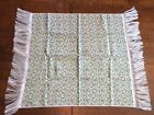 Vtg Fabric lightweight Rug Table Topper Wall Hang Green black Long fringe 34x35