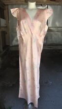 Vintage 1930's 1940's Floral Rayon Satin Bias Gown * NOSWT * Size 46