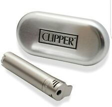 1 New Clipper Matte Silver Electronic Torch Metal Lighter w/ Silver Case