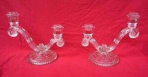 ART DECO Pressed Glass Pair Candlestick 2 Lights Czech 1940