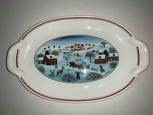 "Villeroy & Boch Naif CHRISTMAS Anno 1748 Winter Scene by Laplau Relish Tray 10""L"