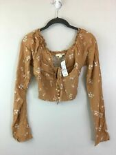 Women's L.A. Hearts Long Sleeve Off The Shoulder Crop Top, Size S -Brown/Floral