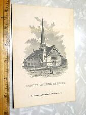1880s Baptist Church, Reading, MA 10 Cent To Help Build Engraved Trade Card F0
