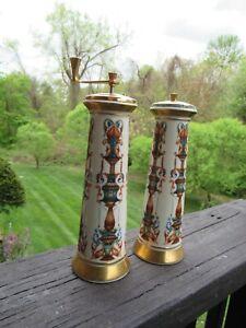 Lenox LIDO Salt Shaker Pepper Mill Grinder Porcelain 24 K Gold Accent 1970s