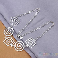 New Women Fashion Jewelry 925 Sterling Silver Plated Pendant Chain Necklace