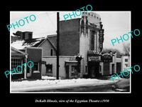 OLD POSTCARD SIZE PHOTO DEKALB ILLINOIS, VIEW OF THE EGYPTIAN THEATER c1950