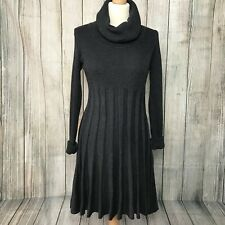 Gorgeous Grey Knitted CALVIN KLEIN Polo Neck Pleated Jumper Dress Size M -10 VGC