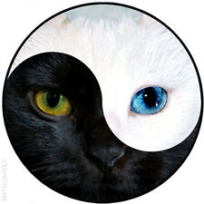 "YING AND YANG CAT FACE  - 25mm / 1"" METAL BUTTON BADGE"