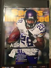 Minnesota Vikings Adrian Peterson signed Autographed 11x14 SI Photo AP ALL DAY