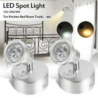 12V-24V 3W LED Applique Murale Plafonnier Lampe Lecture Chevet Spot   h