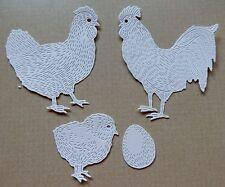 24 Chicken Die Cuts Hens Roosters Chicks Peeps Eggs Card Stock Scrapbook Cards