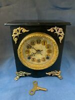 Antique Metal Case Mantel Clock, with key Time/Strike, Key-wind works c788