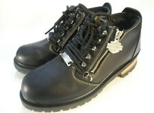 Harley Davidson Black Dual Zip & Lace Leather Biker Boots Shoes Sz 8 Motorcycle
