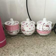 3pcs Cute Hello Kitty Ceramic Kitchen Set Cooking Tools Spice Jar Salt 230ml