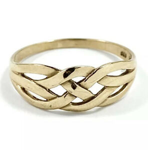 Solid 9ct 375 Yellow Gold Celtic Weave Pattern Ring Size R