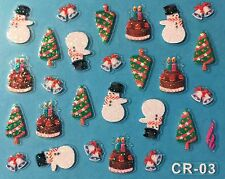 Nail Art 3D Stickers Glitter Decals Snowman Christmas Tree Cake Holidays CR03