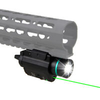 Green Laser Sight LED Flashlight Combo w/ Rail Mount Tactical Hunting Gun Light