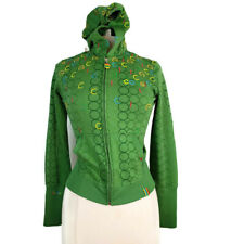 COOGI Hoodie Small Green Embroidered Full Zip Fitted Peplum Hem Cotton Blend