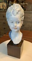 House of Goebel Hand-Painted Porcelain Benacchio Bisque Female Bust Sculpture