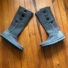 UGG Classic Cardy Gray Sweater Boots Knit Upper Sheepskin Lined Size 6 Wool