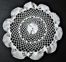 "White with a touch of Purple Doily About Round 12"" or 28cm."