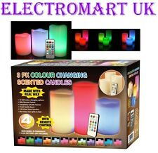 Colour Changing Flickering Flameless LED Wax Mood Candles Vanilla Scented 4pc