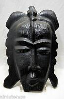 Maschera Arte Tribale Primitivo Africano Legno Lavorato Patina Nera Xx HT 39,5cm