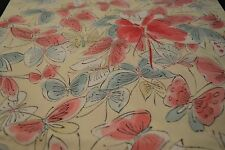 Japanese Silk Fabric Off White with Red, Blue and White Butterfly Design 135
