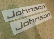 "Johnson Vintage Outboard Motor Decals 8"" Silver FREE SHIP + FREE Fish Decal!"