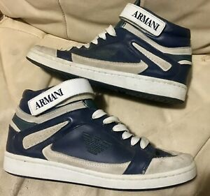 Giorgio Armani Size 6.5 US Mens Teen Sneaker Shoes Blue & White Leather Mid
