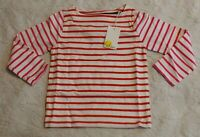 Boden Girl's Long Sleeve Everyday Breton Top SV3 Red Size 3-4Y NWT