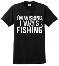 WISH I WAS FISHING FISH BASS HOOK MENS FUNNY T-SHIRT