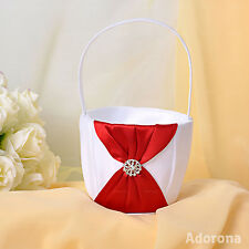 White Satin Bow Flower Girl Baskets -GB03d