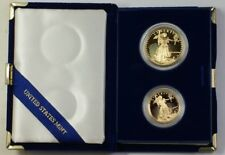 1987 US American Gold Eagle AGE Proof Set 2 Coins Total In OGP W/ COA JAH