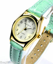 Philip Mercier Mint Green Ladies Watch, Easy Read, Quality Quartz, Faux Leather