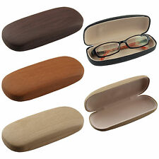 Wood Finished Hard Case Clam Shell For Eyeglass Sunglasses Reading Glasses