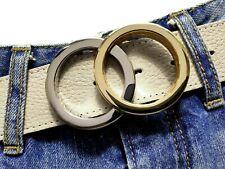 Gürtelschnalle Ringe buckle silber gold poliert Wechselschnalle 4cm verchromt