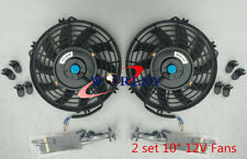 2* 10 inch 12V Thermo Radiator Electric slim Cooling Fan & Mounting Kits