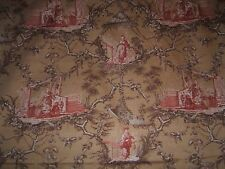 "Lee Jofa ""Basil Toile""  romantic vintage fabric by the yard color cinnamon"