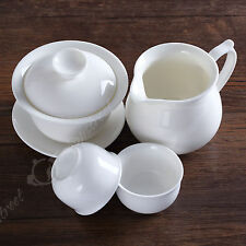4pcs Chinese Porcelain White Jade Gaiwan Pitcher Chahai teacup cup tea set 100ml