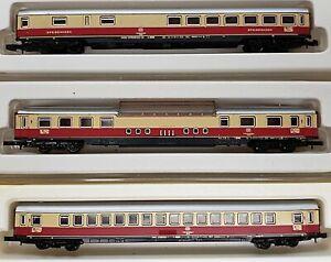 Marklin Mini-Club Z scale USED #8725, #8726 & #8728 Set of 3 TEE Coaches