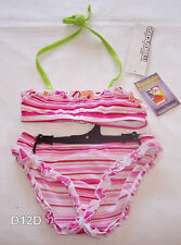 Milkshake Girls Pink Stripe 2 Piece Bikini Size 3 New
