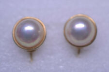VINTAGE 14K YELLOW GOLD LUSTROUS MABE PEARL CLIP EARRINGS 7 GRAMS
