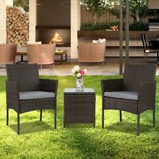 3 PCS PE Rattan Wicker Chairs Set Cushion with Table Outdoor Garden Furniture