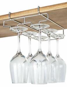 Bafvt Wine Glass Holder - 2 Rows Stemware Rack Under Cabinet - 304 Stainless ...