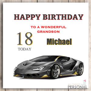Personalised Birthday Card Grandson Son Dad Husband Nephew Sports Car 18th 21st