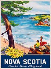 Nova Scotia Canada's Ocean Playground Canada Canadian Vintage Travel Art Poster